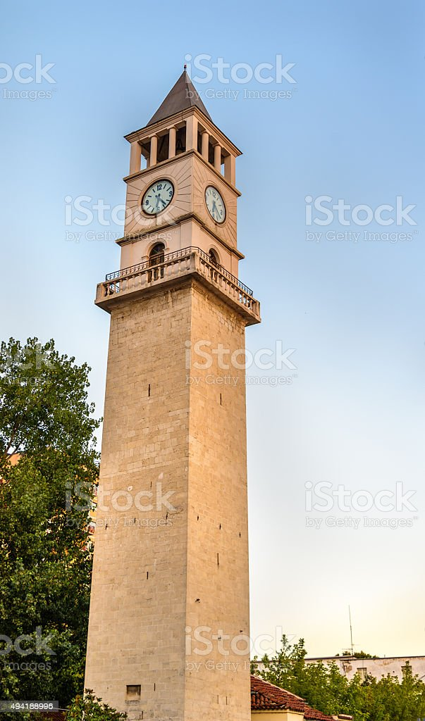 The Clock Tower of Tirana - Albania stock photo
