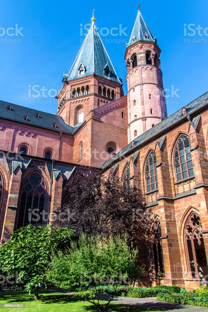 the cloister and the bell tower of the St. Martin's Cathedral, Mainz stock photo