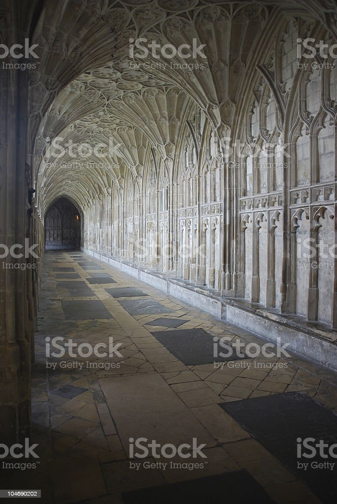 The Cloister in Gloucester Cathedral stock photo