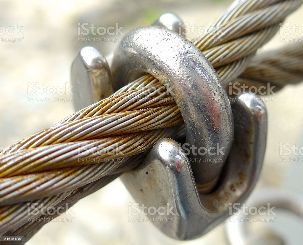 The close view of wire rope texture stock photo