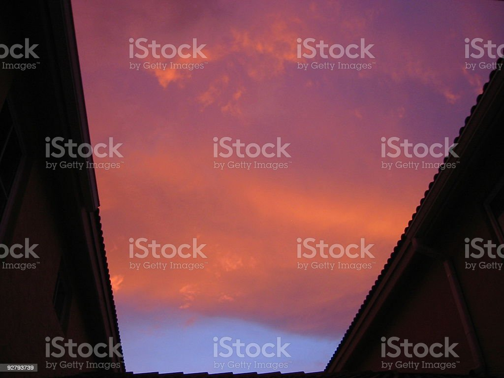 The clouds in the sunset before hurricane stock photo