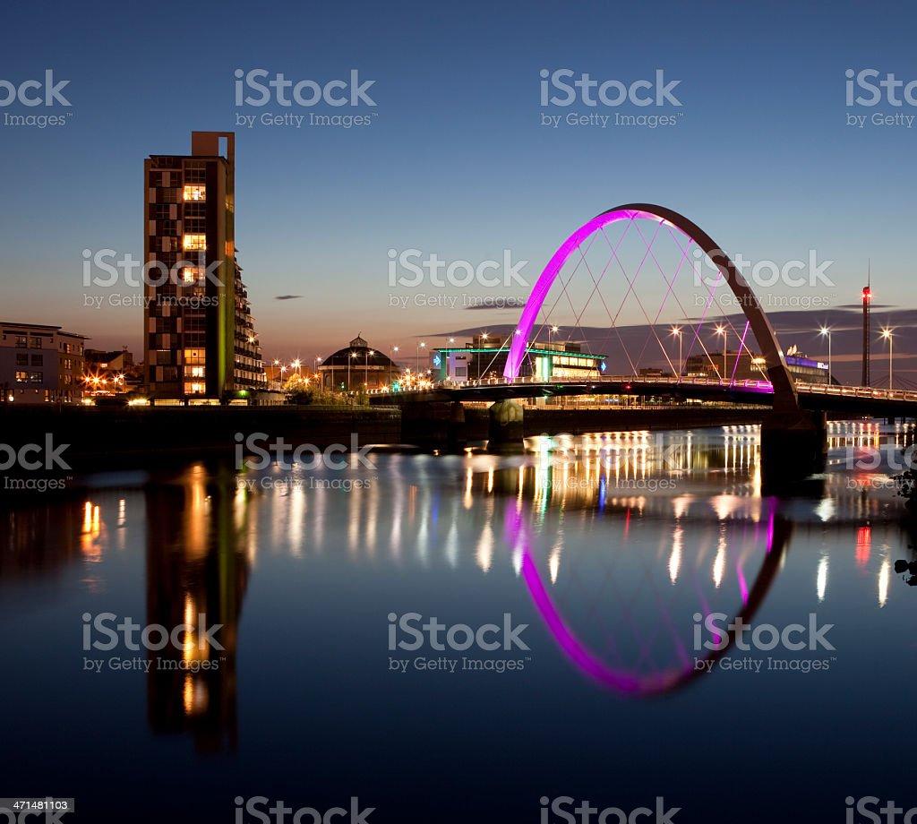 The Clyde Arc at dusk, Glasgow, Scotland, 2011 stock photo
