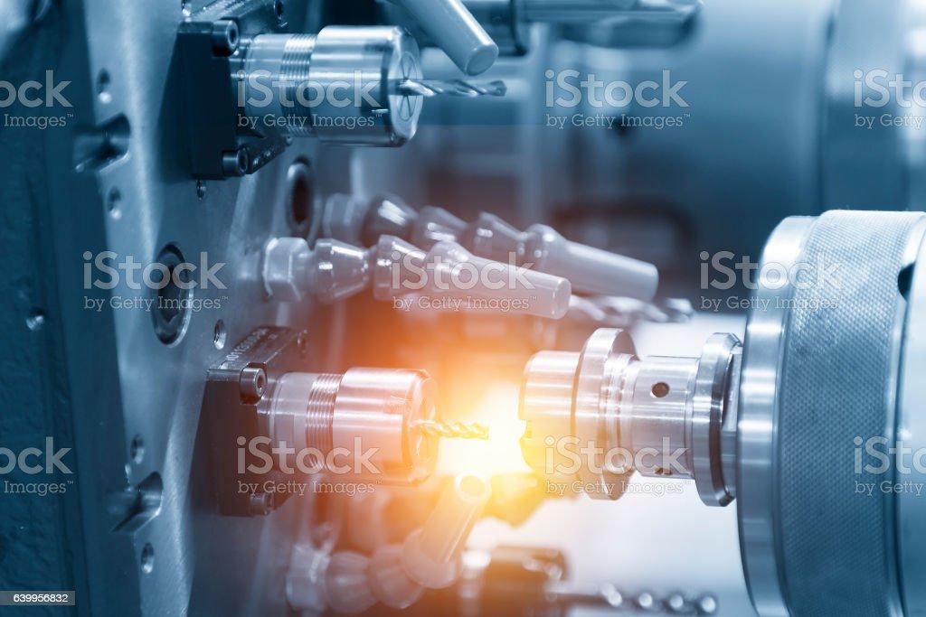 The CNC lathe or CNC turning machine stock photo