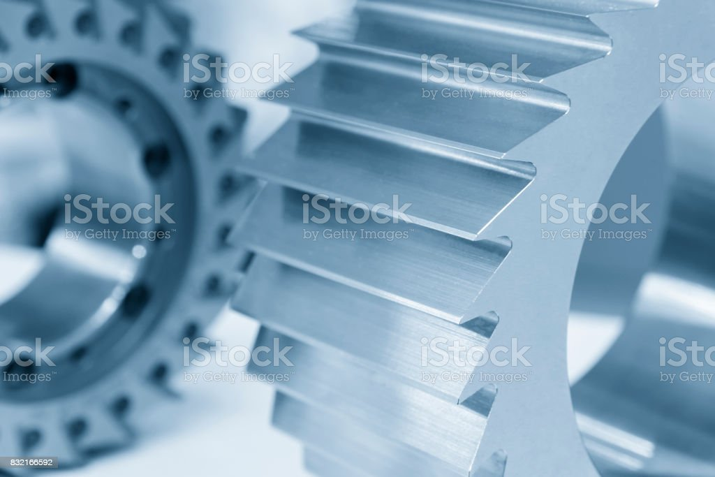 The CNC milling machine cutter for hobbing process. stock photo