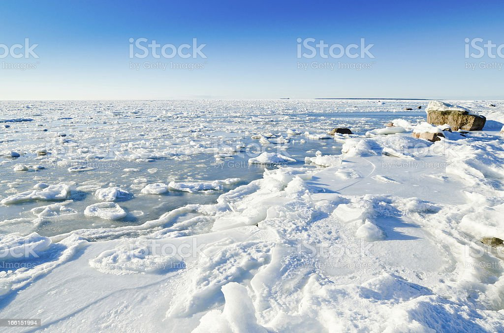 The coast of Baltic sea held down by an ice royalty-free stock photo