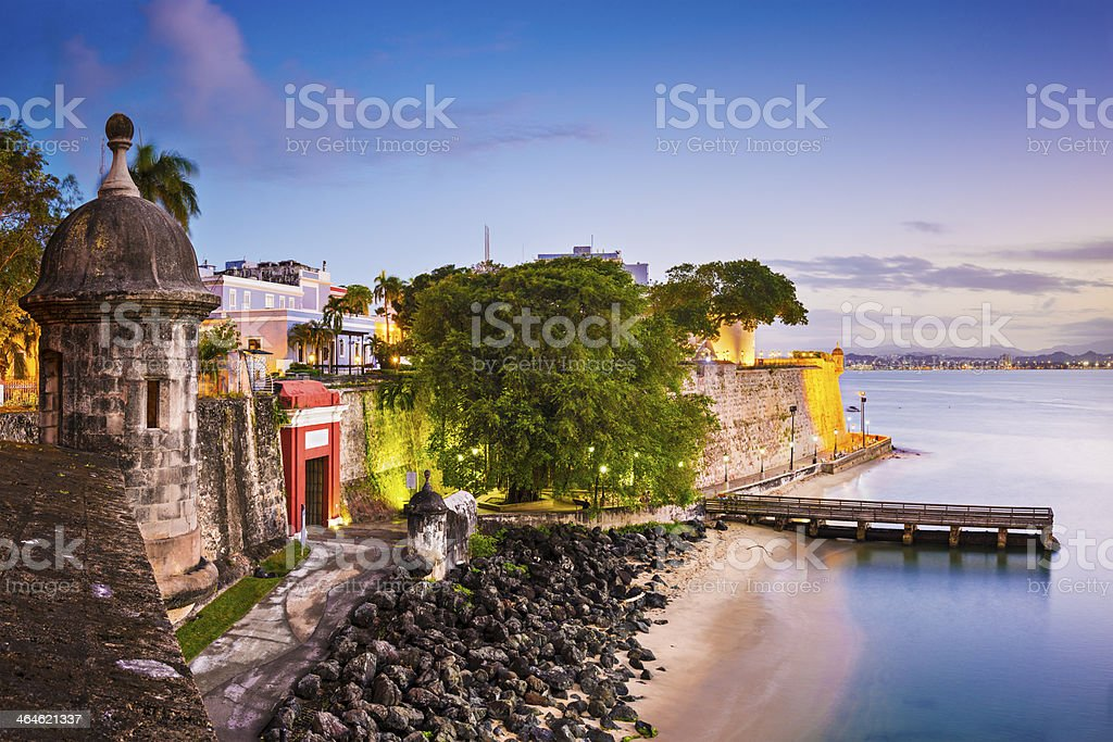 The coast of San Juan, Puerto Rico at sunset stock photo