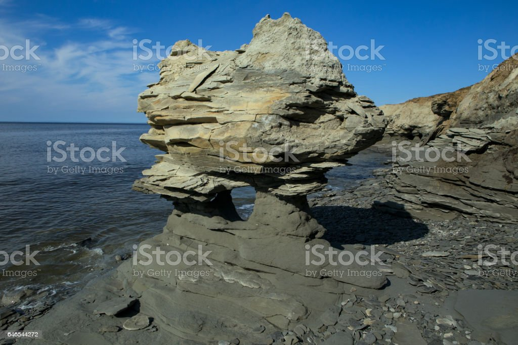The coastal landscape has been formed by the sea surf. stock photo