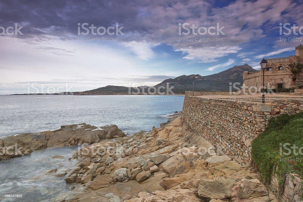 The coastline at Algajola, Corsica royalty-free stock photo