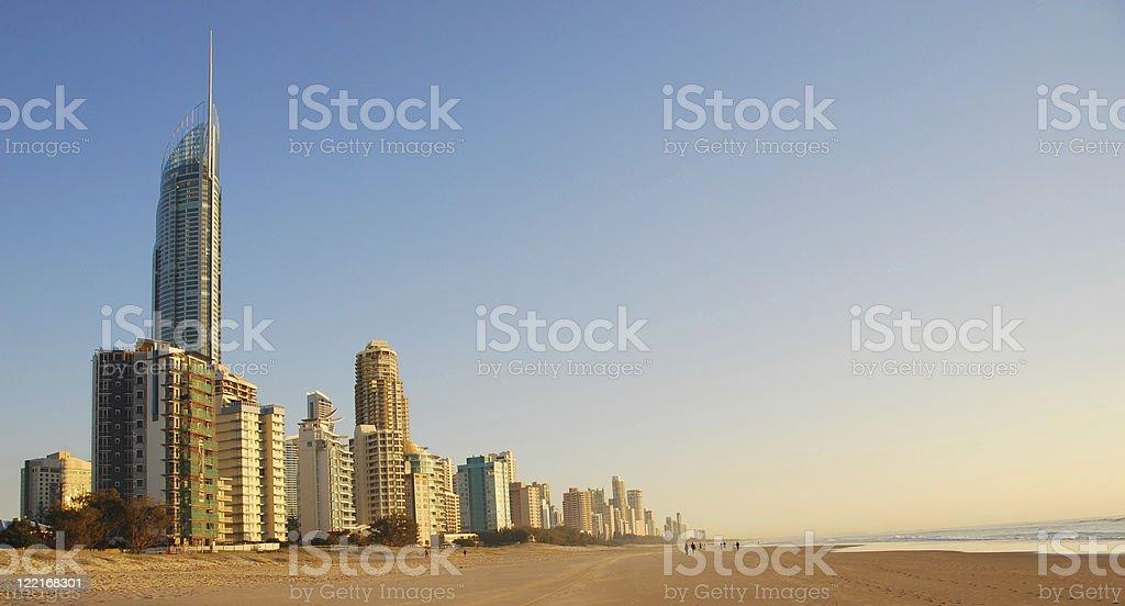 The coastline at Surfers Paradise, Queensland, Australia stock photo