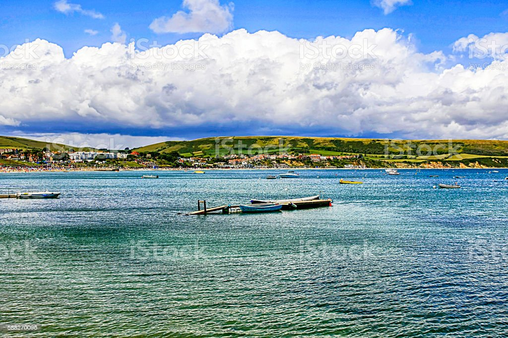 The coastline of Dorset and the bay at Swanage , UK stock photo