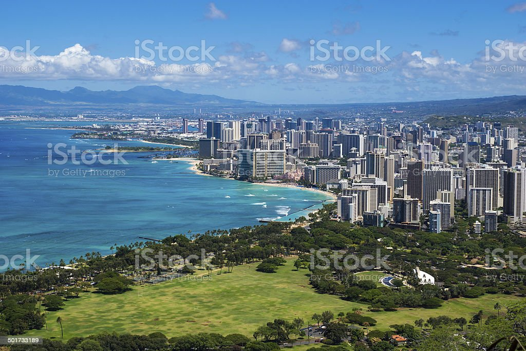 The coastline of Oahu leading into Waikiki and Honolulu stock photo