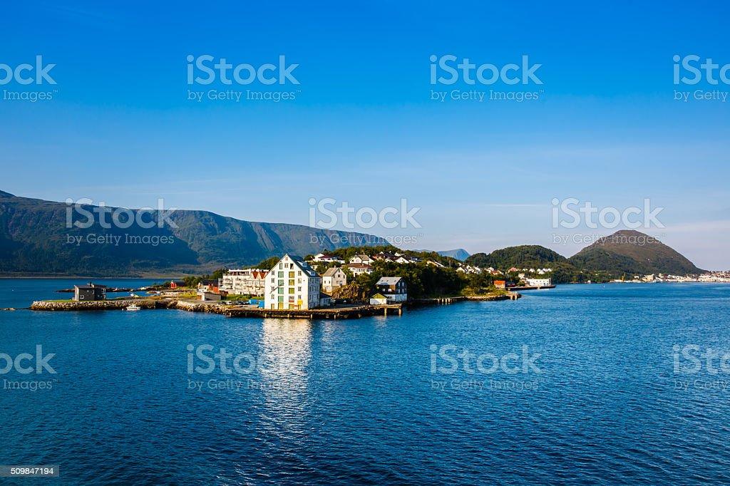 The coastline of the city of Alesund , Norway stock photo