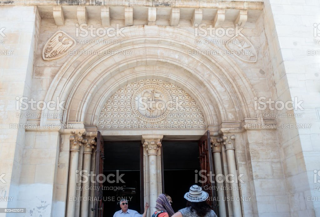 The Coats of arms above the entrance to the Evangelical Lutheran Church of the Redeemer in the old city of Jerusalem, Israel. stock photo