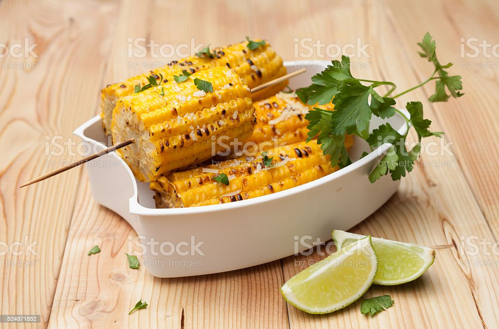 the cob cooked corn stock photo