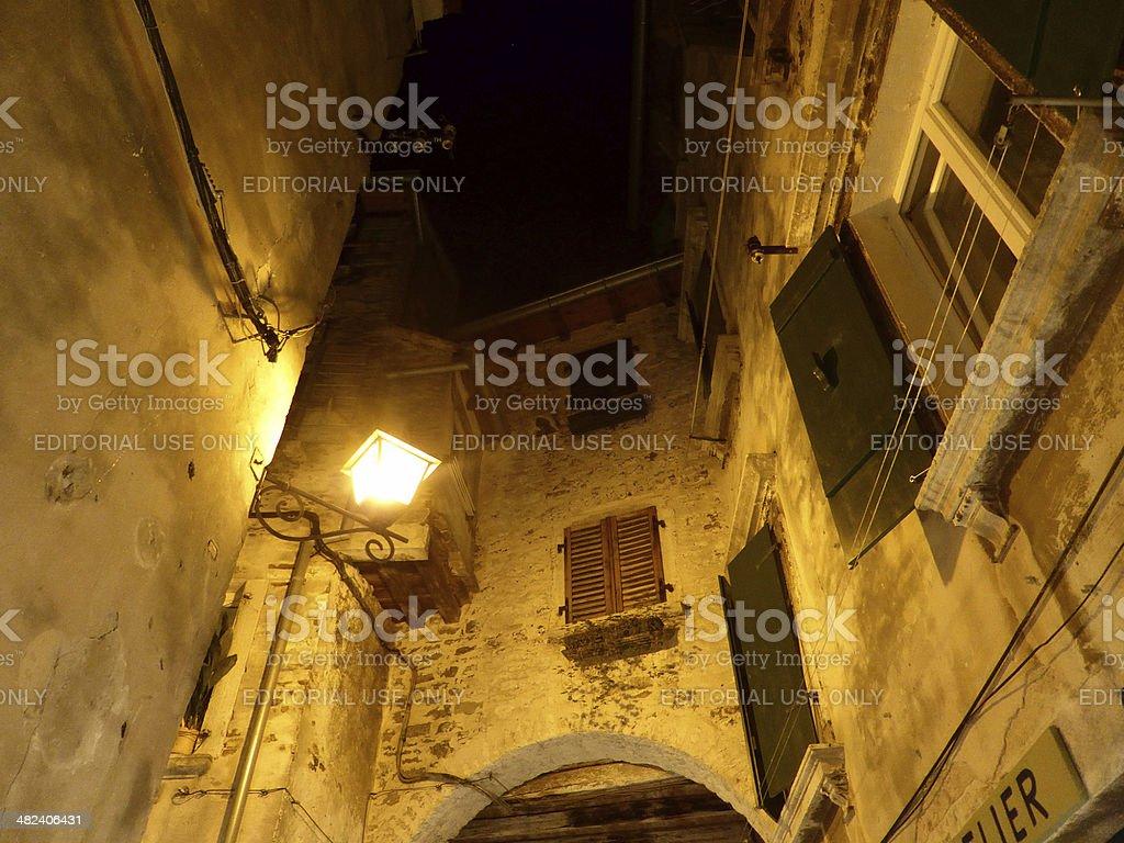 The cobbled streets of Rovinj stock photo