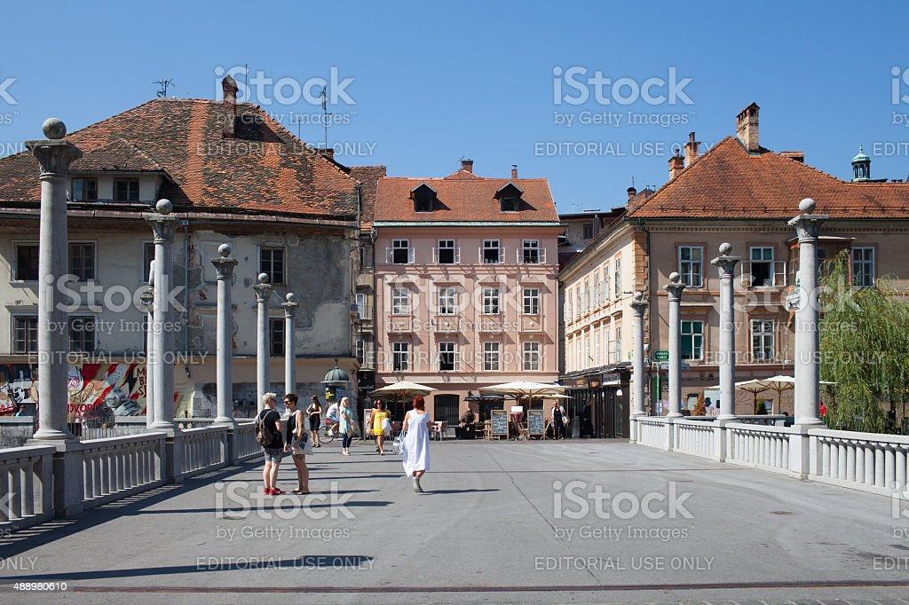 The Cobbler's Bridge Ljubljana Slovenia stock photo
