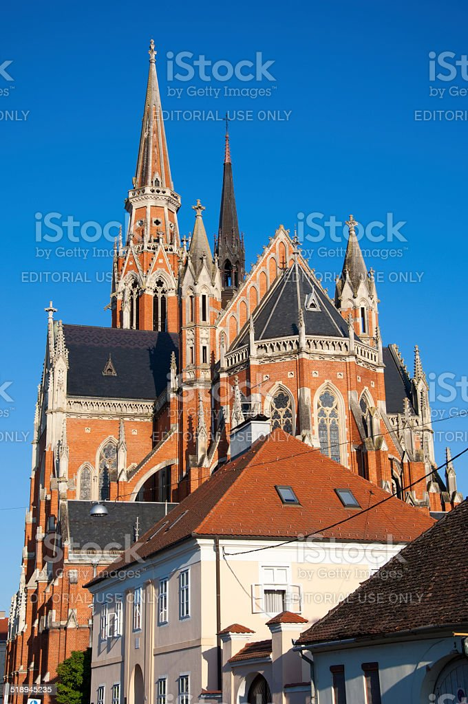 The co-cathedral of St Peter and St Paul in Osijek stock photo