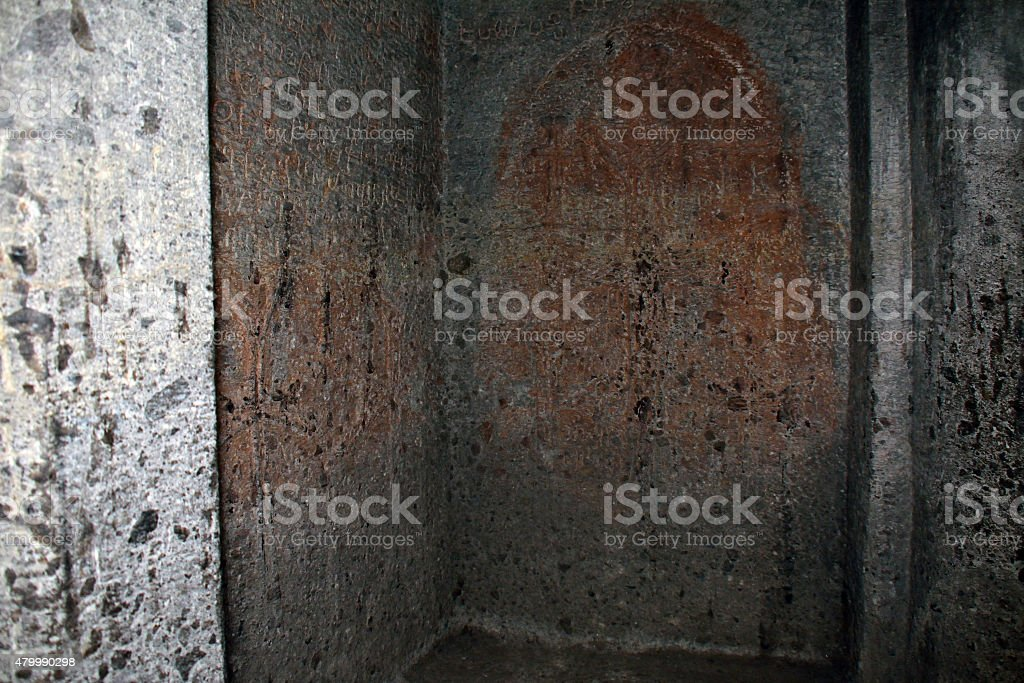 The cochineal drawings on the wall of the church. stock photo