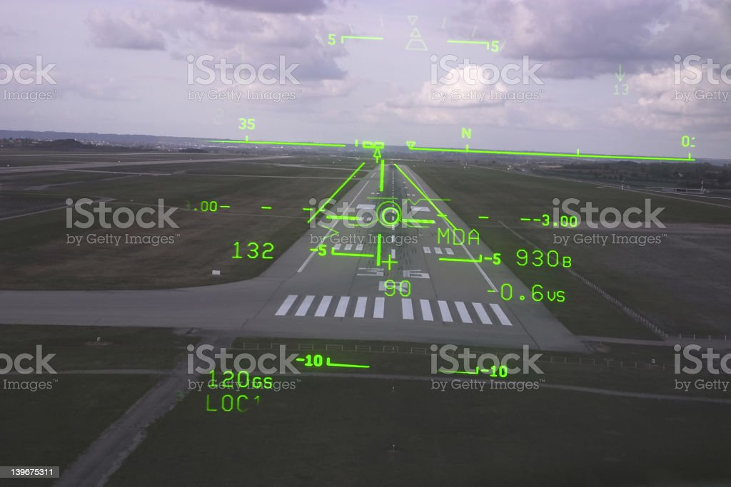 The cockpit of Canadair tracking its landing royalty-free stock photo