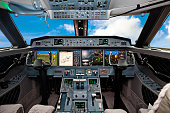 The cockpit of the aircraft
