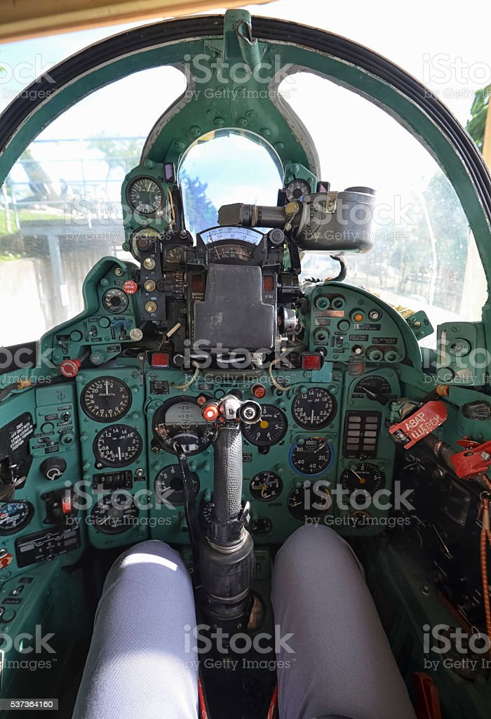 The cockpit of the famous Mig-21 fighter stock photo