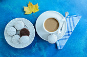 The coffee cup with chocolate gingerbreads with white glaze