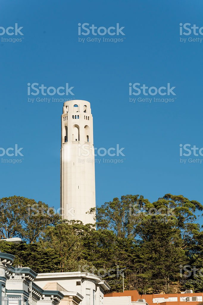 The Coit Tower in San Francisco stock photo