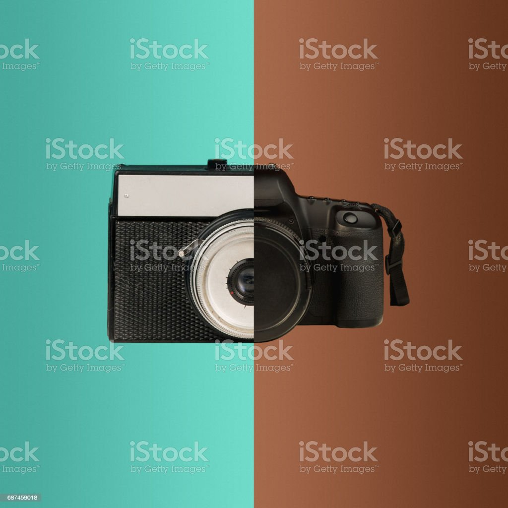 The collage from new and old cameras stock photo
