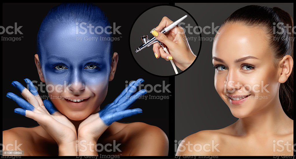 The collage of makeup for model with aerograph stock photo