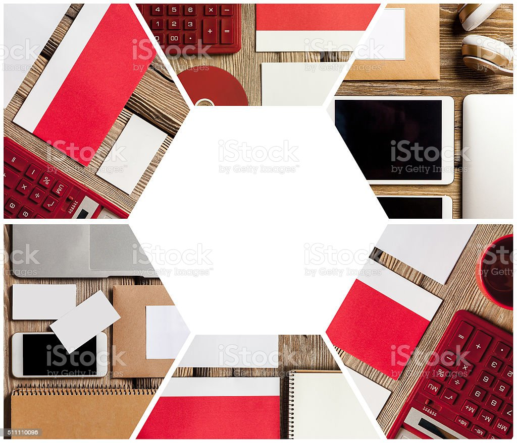 The collage of responsive design mockup stock photo