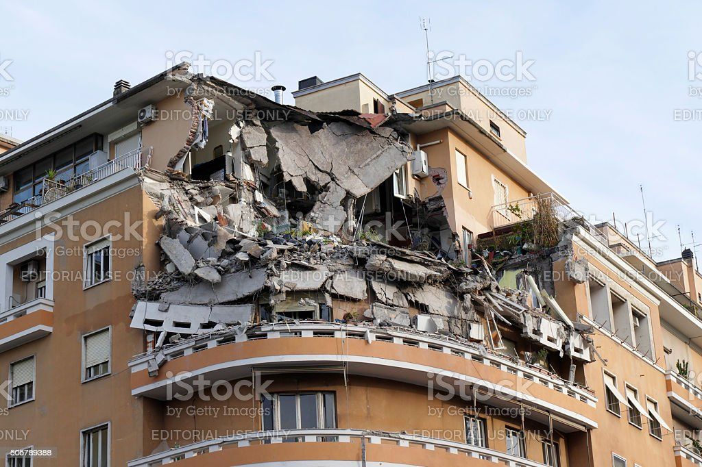 The Collapsed Building for Lawlessness stock photo
