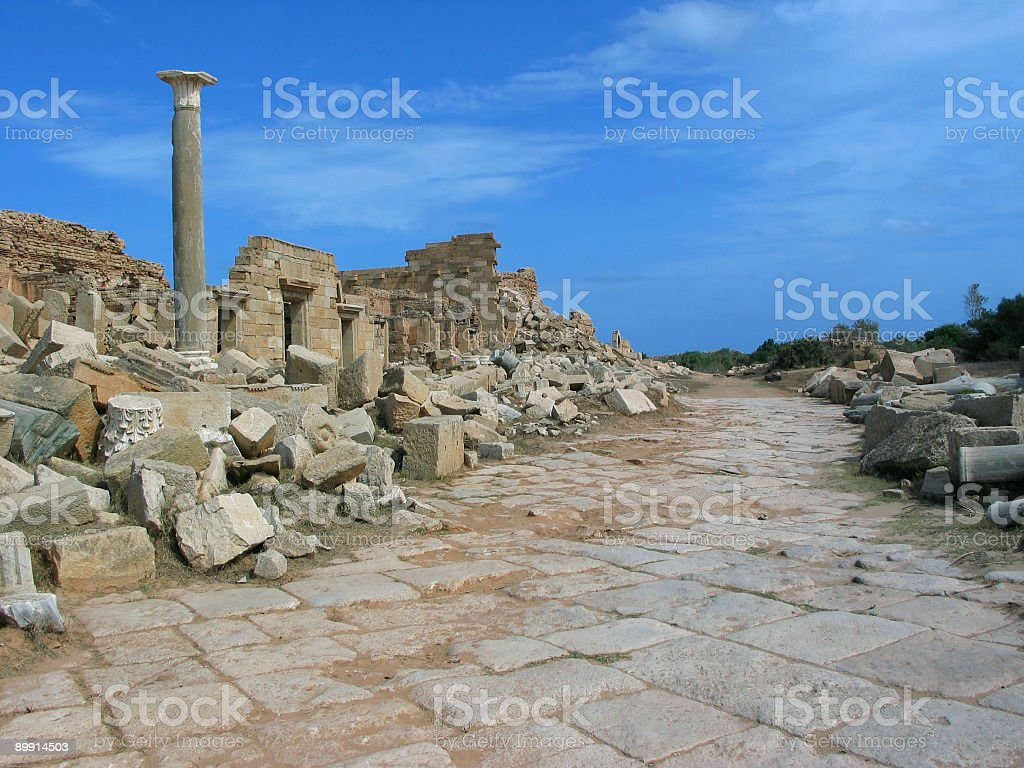 The Colonnaded Street in Leptis Magna royalty-free stock photo