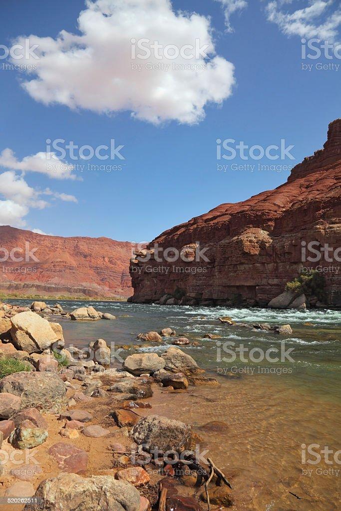 The Colorado River in red rocks stock photo
