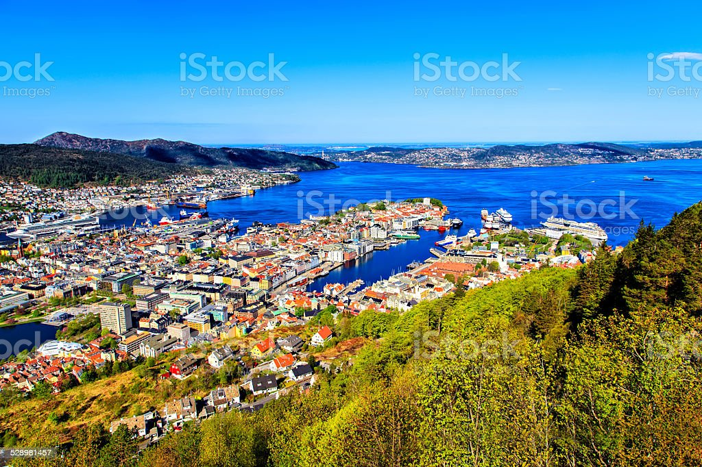 The colored city and bay, view from the top stock photo