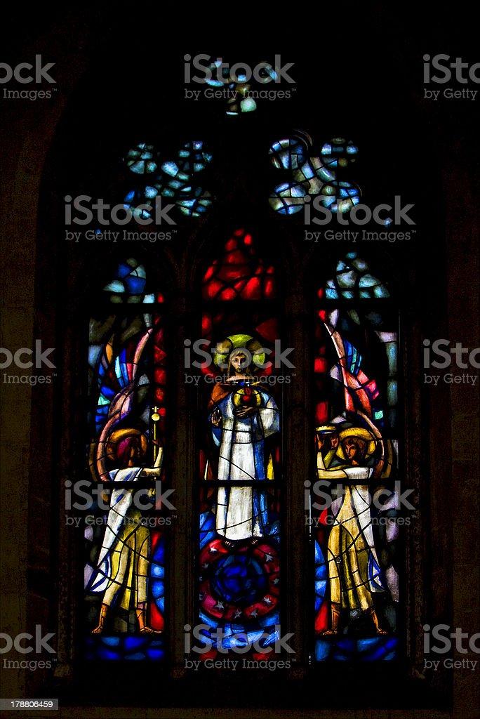 the colored rose window in santa chiara royalty-free stock photo