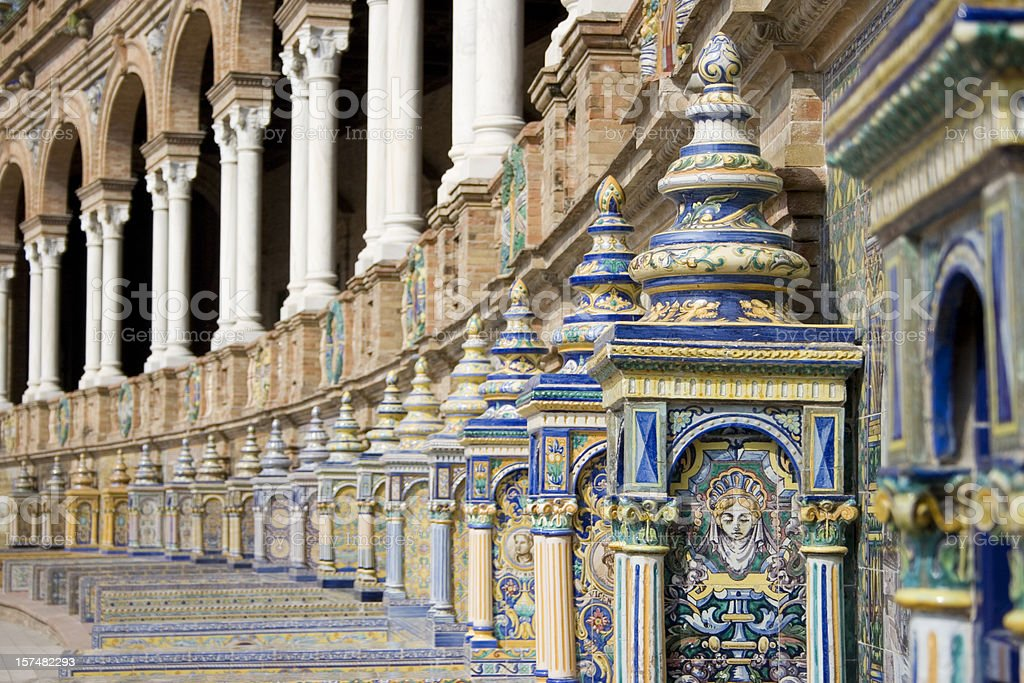 The colorful architecture of the Plaza de Espana in Sevilla royalty-free stock photo