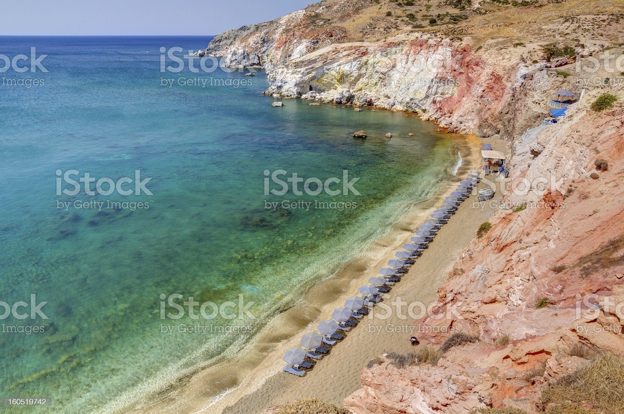 The colorful beach of Paleochori, Milos island, Cyclades, Greece royalty-free stock photo