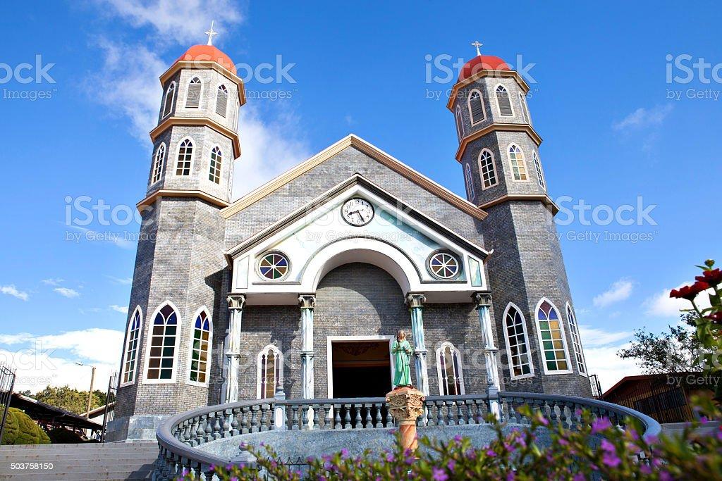 The colorful catholic church of Zarcero, Costa Rica stock photo