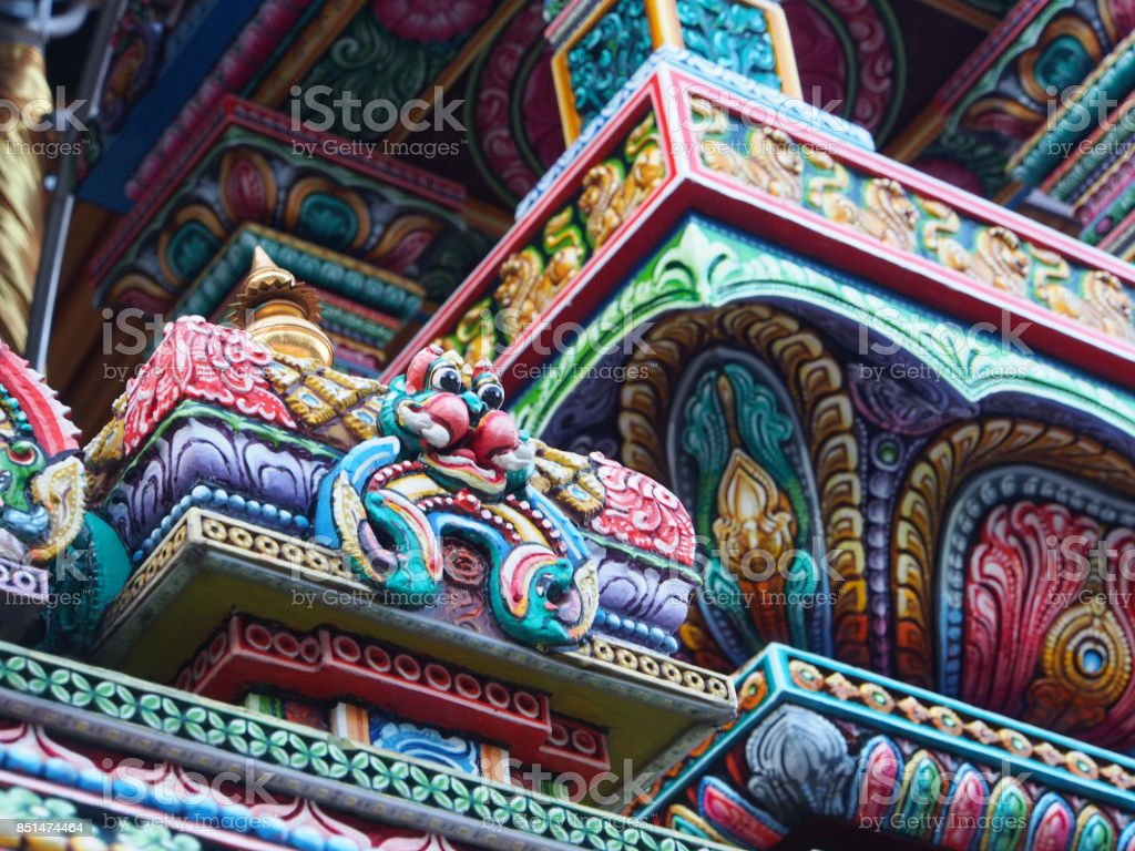 The Colorful Hindu Temple in Bangkok , Thailand stock photo