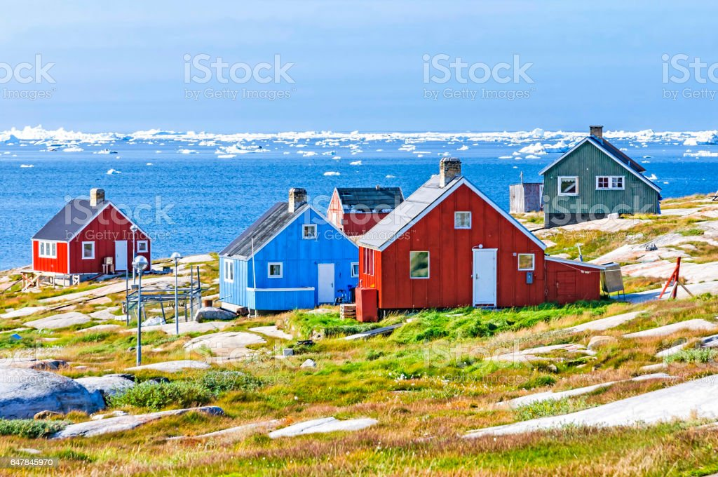 The colorful houses of Rodebay, Greenland stock photo