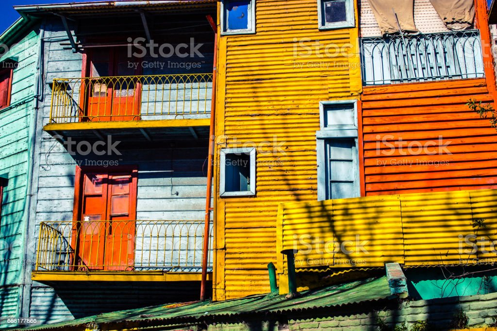The colorful houses typical of Caminito, La boca - Buenos Aires - Argentina - South America. stock photo
