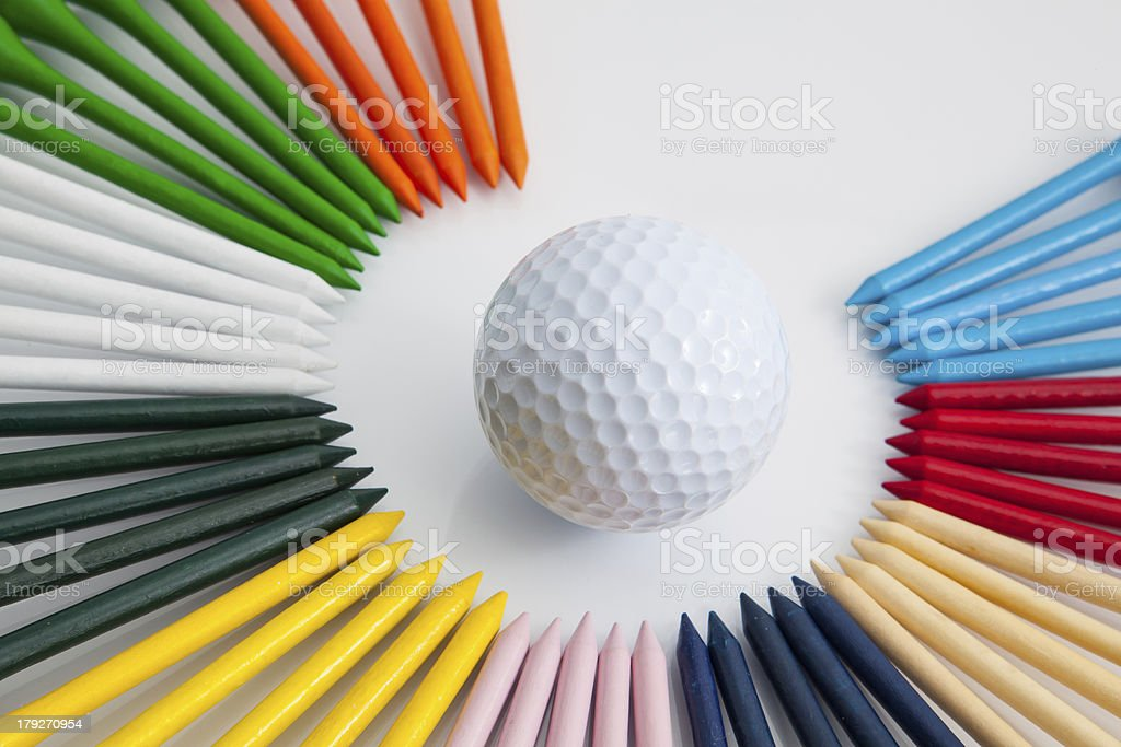 The colorful wooden golf tees royalty-free stock photo