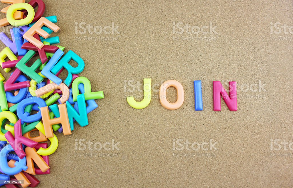 The colorful word 'JOIN' Lizenzfreies stock-foto