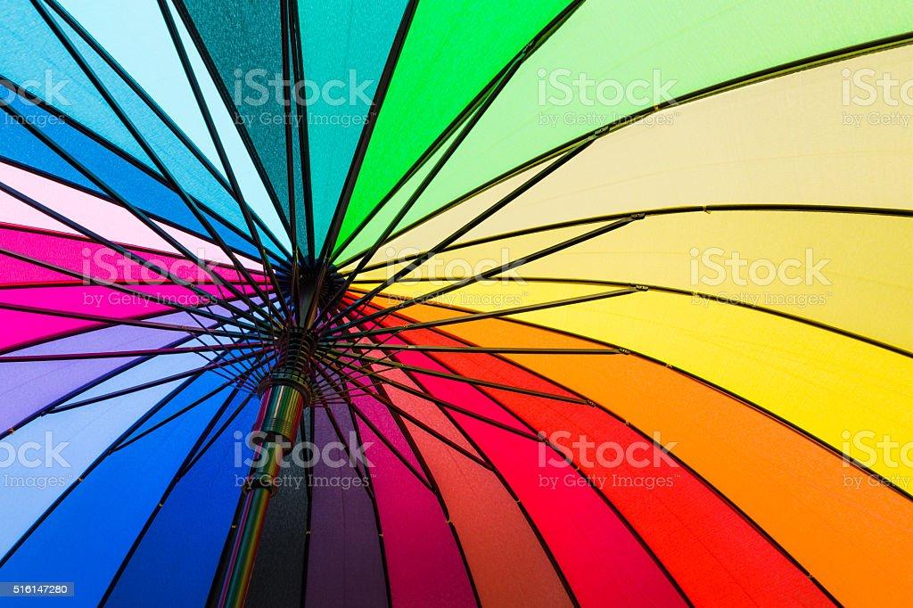 The colors of the rainbow umbrella stock photo