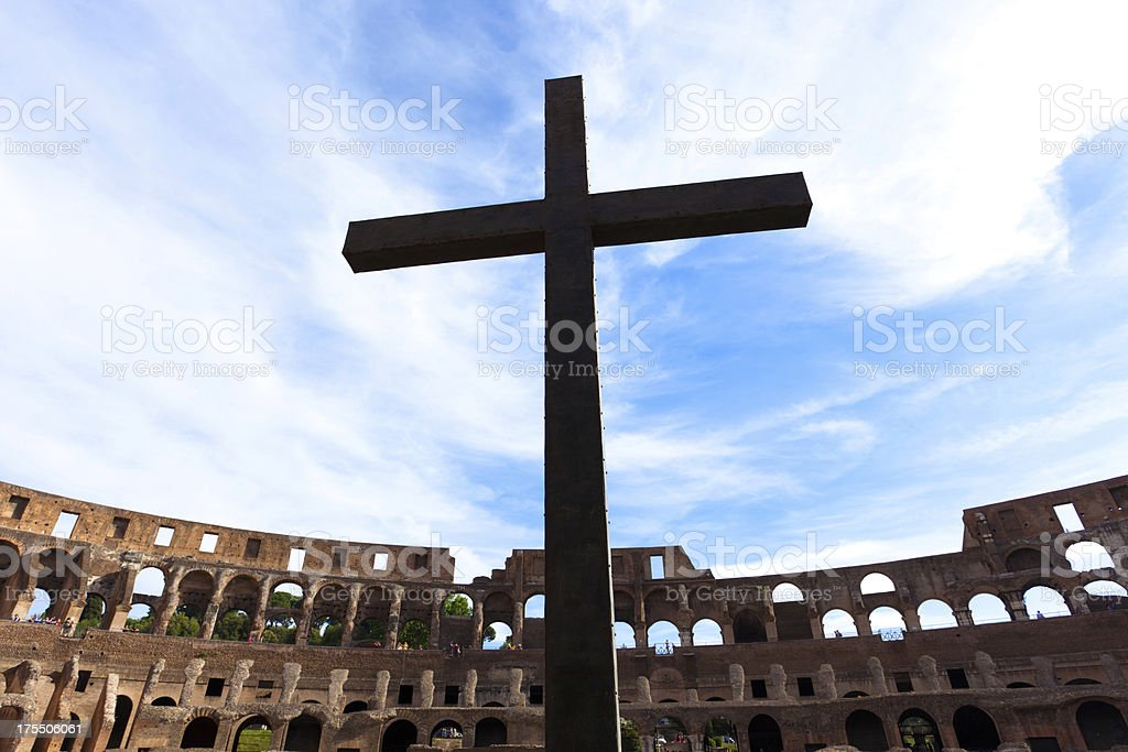 The Colosseum and cross in Rome royalty-free stock photo