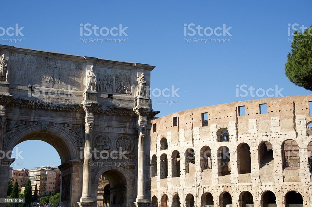The Colosseum and the Arch of Constantine - Rome, Italy stock photo