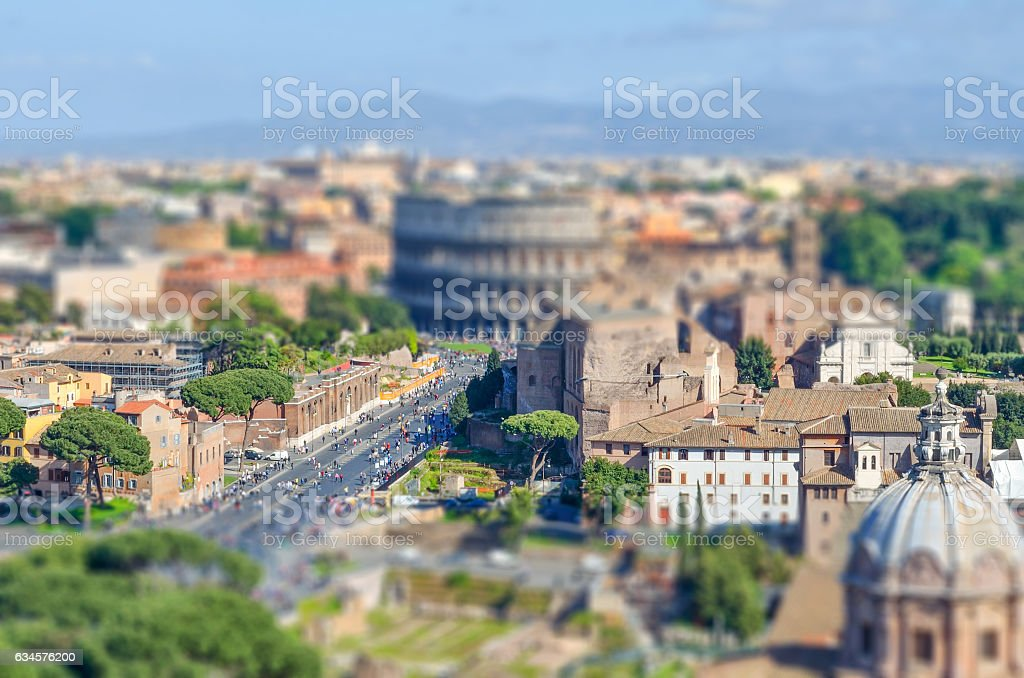 The Colosseum and the Roman Forum, Rome. Tilt-shift effect applied stock photo