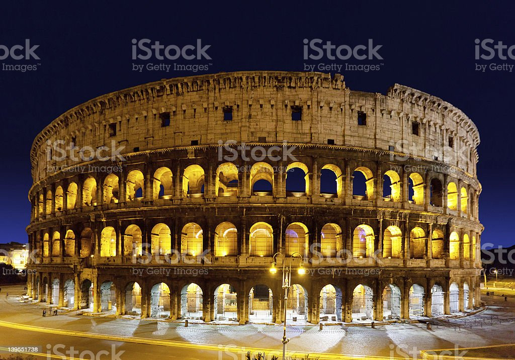 The Colosseum at night, Rome, Italy stock photo