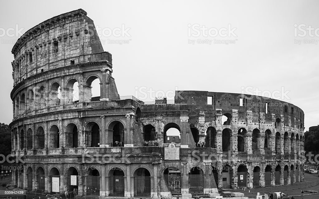 The colosseum in black and white stock photo