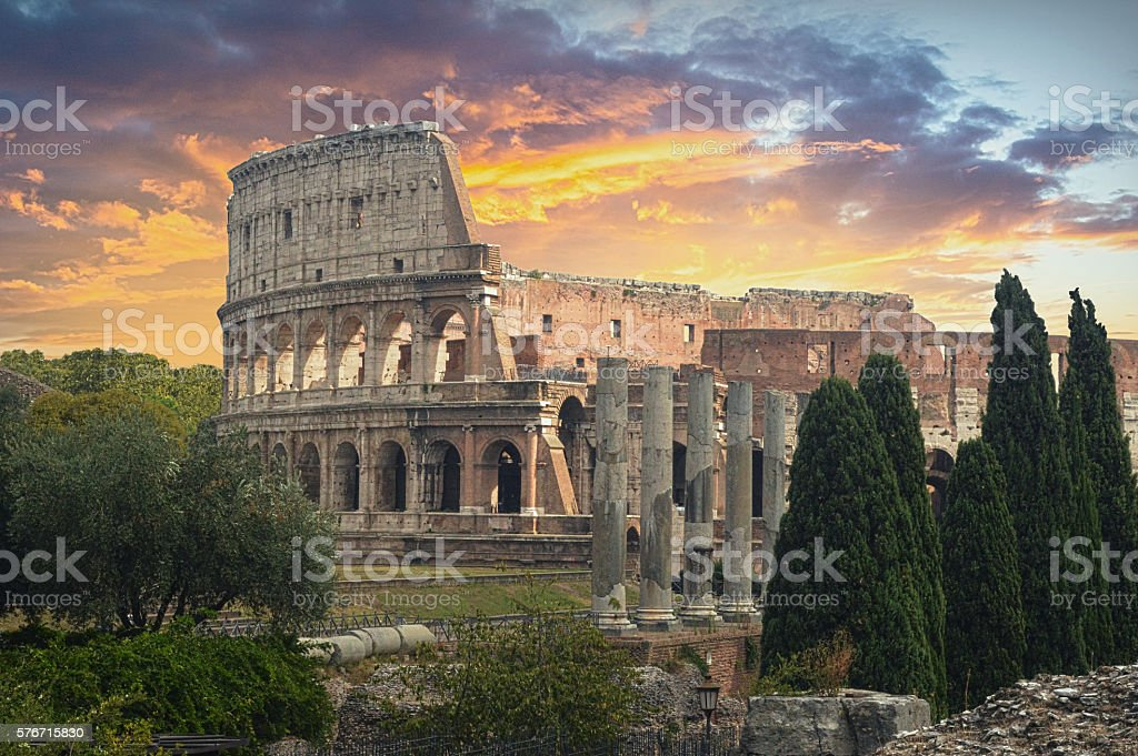 The Colosseum in Rome at Sunset stock photo